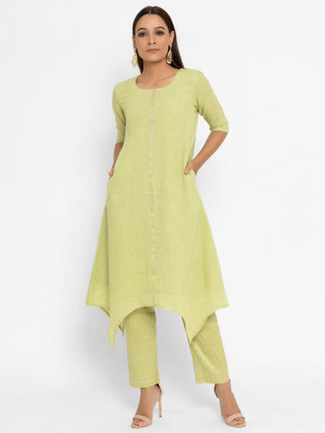 'SEPTEMBER-Separates-SPECIAL' Khadi Green Asymmetric Gota Kurta