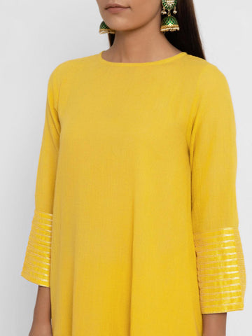 'SEPTEMBER-Separates-SPECIAL' Khadi Yellow Flare Kurta
