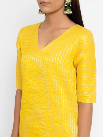 'SEPTEMBER-Separates-SPECIAL' Chanderi Yellow Striped Long-Slit Straight Kurta
