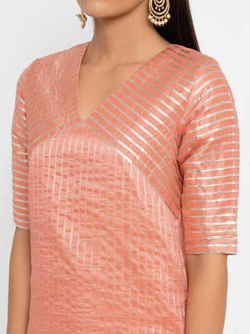 'SEPTEMBER-Separates-SPECIAL' Chanderi Peach Striped Diagonal Yoke Straight Gota Kurta