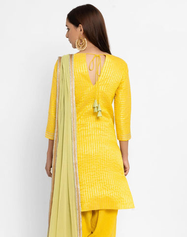 'SEPTEMBER-Separates-SPECIAL' Chanderi Yellow Striped Tassle Kurta