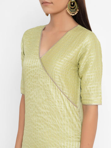 'SEPTEMBER-Separates-SPECIAL' Chanderi Green Striped Straight Gota Kurta