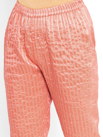 'SEPTEMBER-Separates-SPECIAL' Chanderi Peach Striped Pant