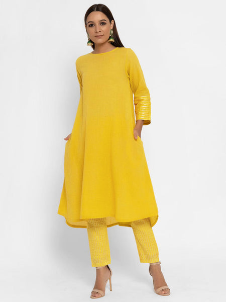 'SEPTEMBER-Separates-SPECIAL' Chanderi Yellow Striped Pant