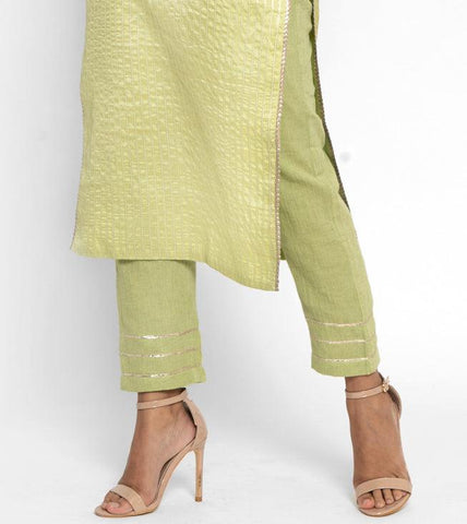 'SEPTEMBER-Separates-SPECIAL' Khadi Green Gota Pant