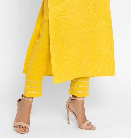 Khadi Yellow Gota Pant