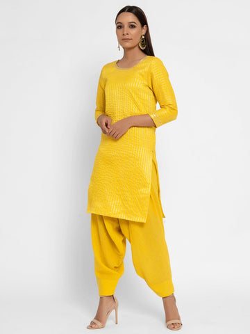 Khadi Yellow Patiala Pant