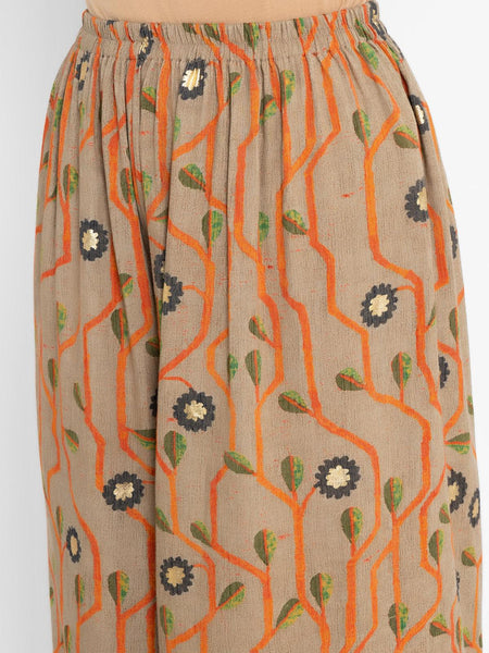 Grey Orange Printed Cotton Pant