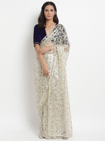 Net Sequin Saree