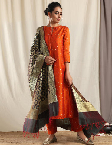 Black Brocade Dupatta