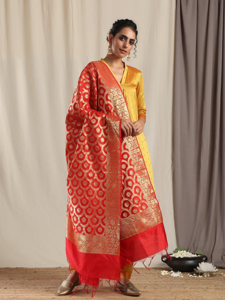Red Brocade Dupatta