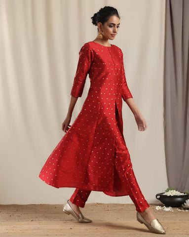 Red Silk Slit Kurta Pant Set