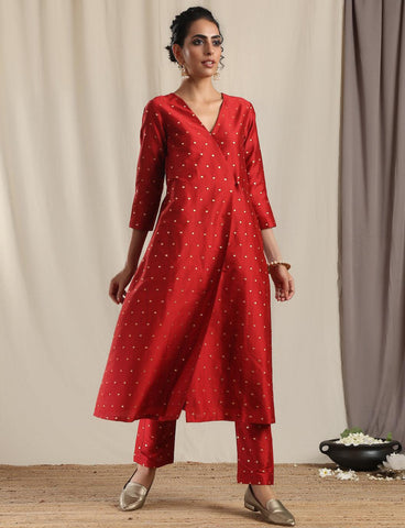 Red Silk Angrakha Kurta Pant Set