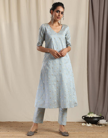 Grey Silk Kurta Pant Set