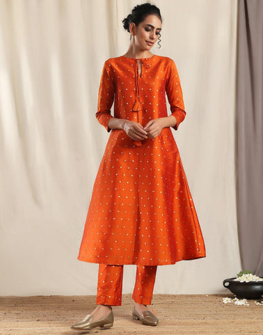 Orange Silk Kurta Pant Set