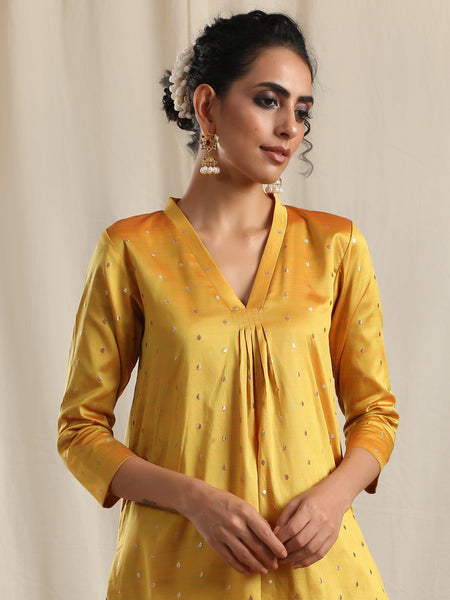Yellow Silk Kurta Pant Set
