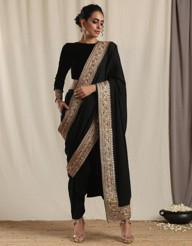 Black Crinkle Ready to Wear Embroidered Saree