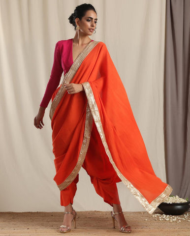 Orange Crinkle Ready to Wear Gota Saree