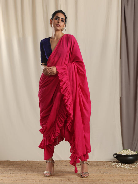 Pink Crinkle Ready to Wear Ruffle Tassel Saree