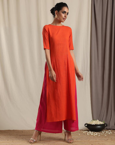 Orange Crinkle Slit Kurta Pant Set