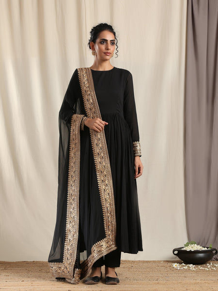 Black Crinkle Flared Kurta Pant Dupatta Set