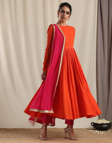 Orange Crinkle Flared Kurta Pant Dupatta Set