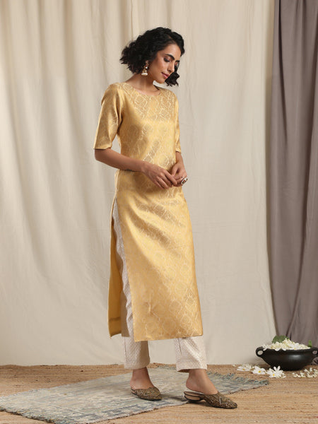 Gold Brocade Slit Kurta
