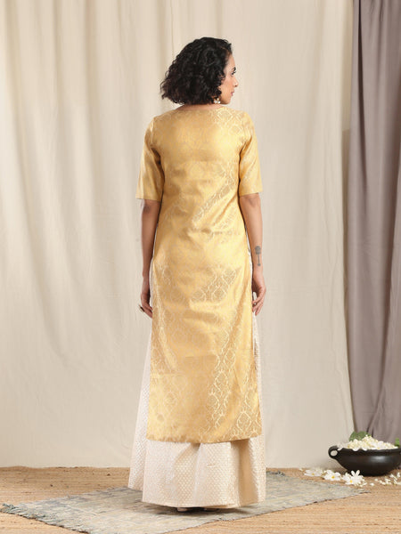 Ivory Gold Brocade Slit Kurta Skirt Set