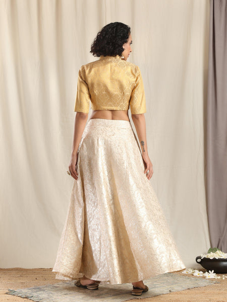 Ivory Gold Brocade Blouse Skirt Set