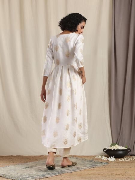 White Gold Modal Silk Pleated Kurta Pant Set
