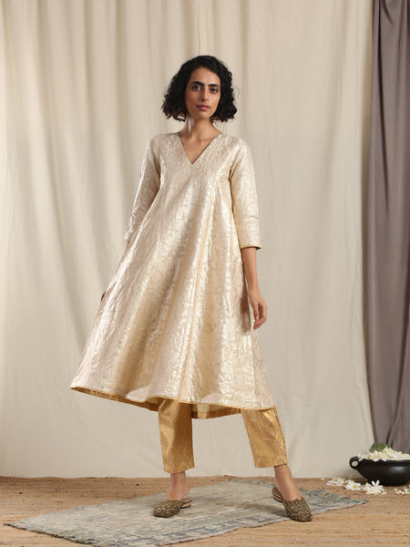 Beige Gold Modal Silk Flared Kurta Pant Set