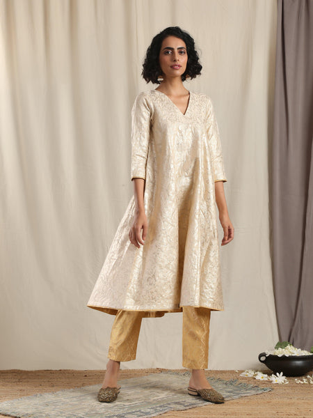 Beige Gold Modal Silk Flared Kurta