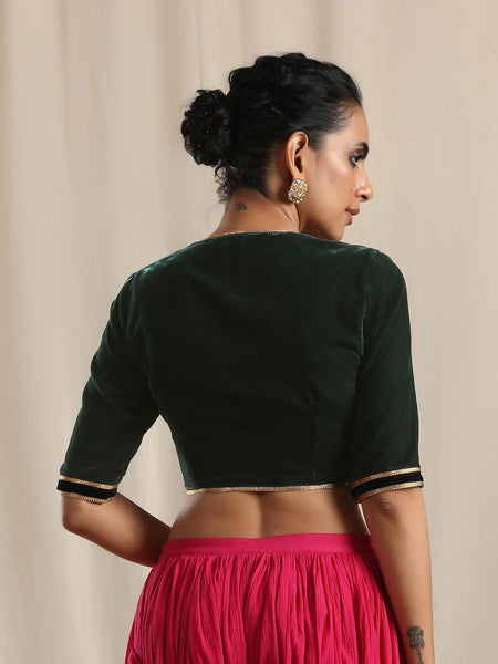 Green Velvet Gota Blouse