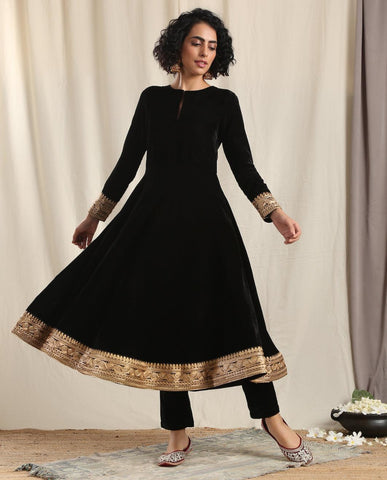 Black Velvet Flared Embroidered Kurta