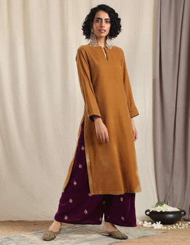 Brown Velvet Slit Kurta