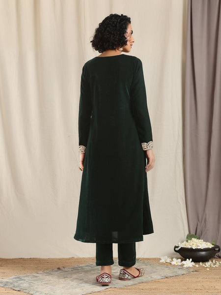 Green Velvet Flared Gota Kurta