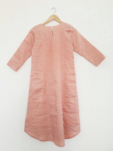 Chanderi Peach Striped Kurta