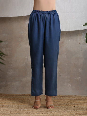 Cotton Linen Dark Blue Pant