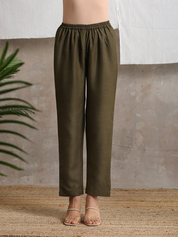 Cotton Linen Dark Green Pant