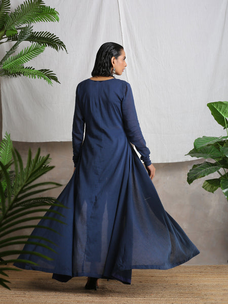 Navy Blue Crinkled Kurta