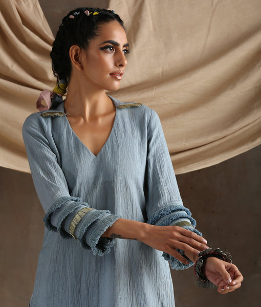 Grey Cotton Khadi Long Slit Lace Kurta
