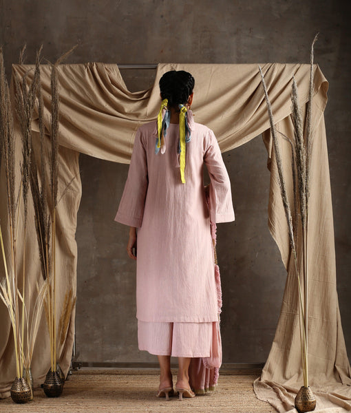 Rose Pink Cotton Khadi Lace Kurta