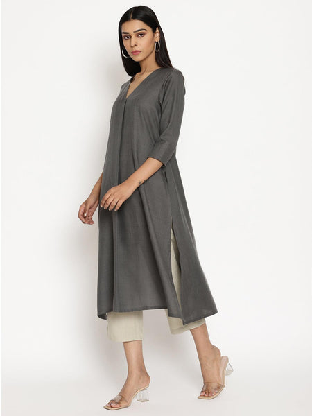 Cotton Linen Dark Grey Kurta Pant Set