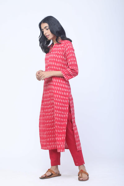 Red & White Handwoven Ikat Kurta