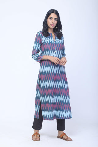 Blue & Red Handwoven Ikat Kurta