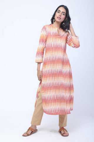 Orange & Red Handwoven Ikat Kurta