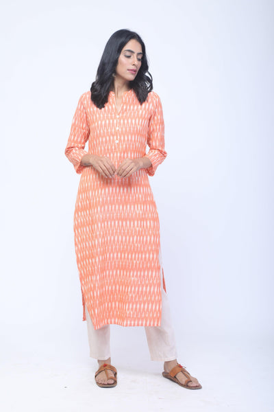 Orange & White Handwoven Ikat Kurta