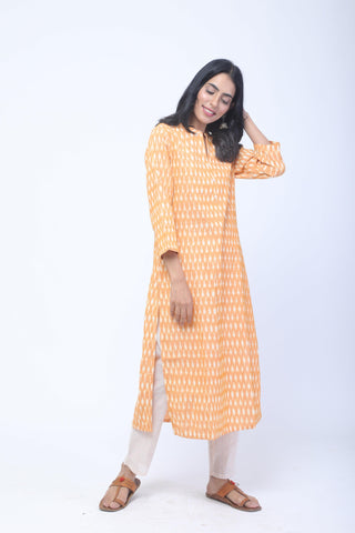 Yellow & White Handwoven Ikat Kurta