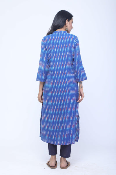 Blue, Red & White Handwoven Ikat Kurta