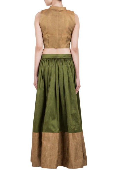 Green Gold Border Skirt Gold Top